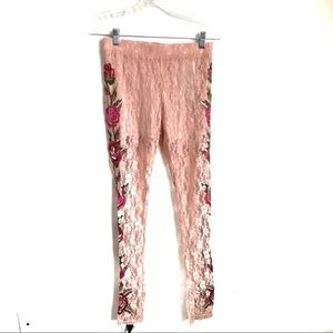 NWT Ark & Co Lace Sheer Floral Pants
